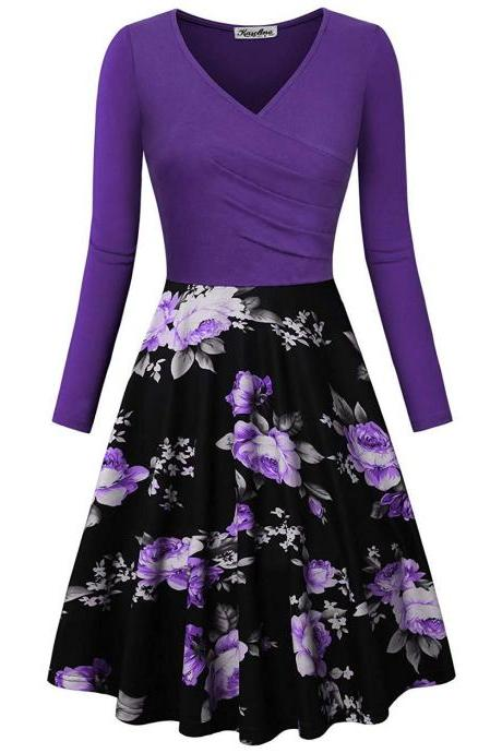 Women Floral Printed Dress Autumn V Neck Long Sleeve Patchwork Slim A Line Casual Party Dress purple