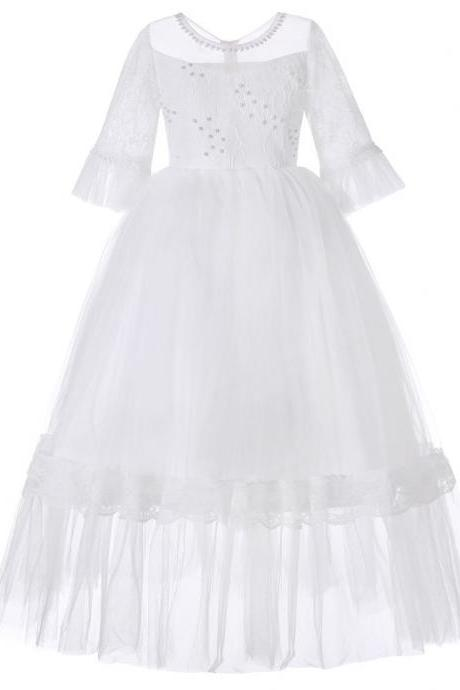 Princess Flower Girl Dress Lace Half Sleeve Kids Wedding Bridesmaid Party Long Gown Children Clothes off white