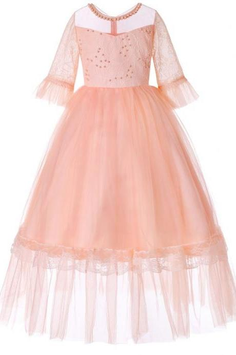 Princess Flower Girl Dress Lace Half Sleeve Kids Wedding Bridesmaid Party Long Gown Children Clothes salmon