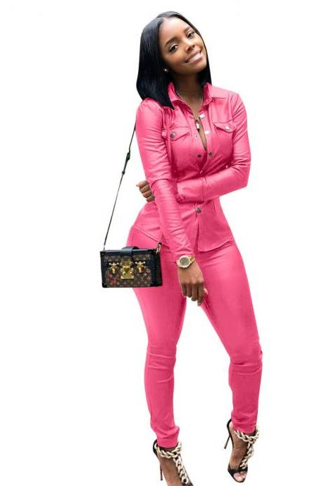 Women Faux Leather Jumpsuit Long Sleeve Shirt and Pants Casual Two Pieces Sets Club Party Overalls pink