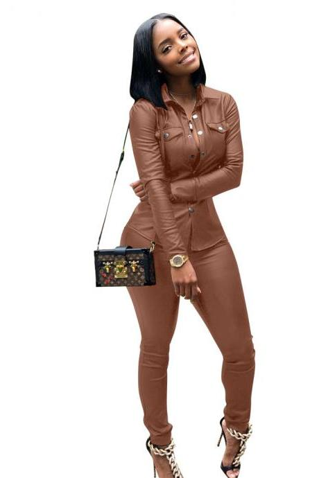 Women Faux Leather Jumpsuit Long Sleeve Shirt and Pants Casual Two Pieces Sets Club Party Overalls coffee