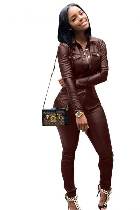 Women Faux Leather Jumpsuit Long Sleeve Shirt and Pants Casual Two Pieces Sets Club Party Overalls wine red