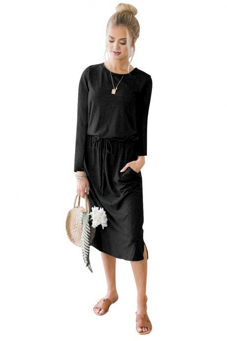 Women Casual Dress Autumn Winter O Neck Long Sleeve Drawstring Pockets Side Split Midi Dress black