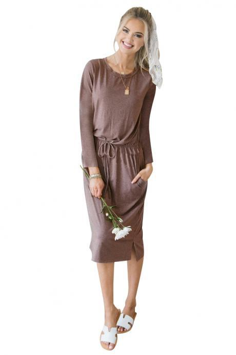 Women Casual Dress Autumn Winter O Neck Long Sleeve Drawstring Pockets Side Split Midi Dress khaki