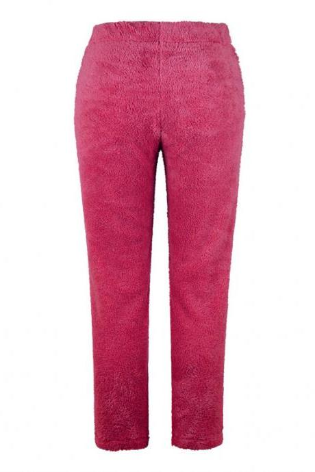 Women Velvet Pants Autumn Winter Warm Thick Fleece Causal Loose Plus Size Trousers rose red