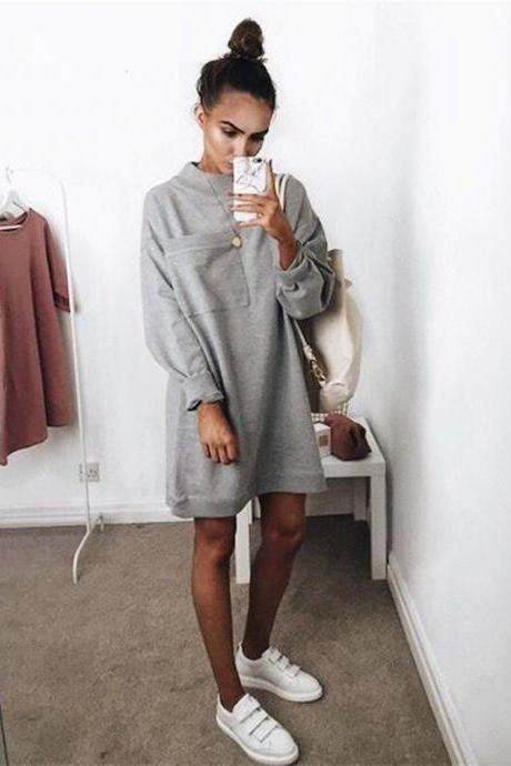 Women Sweatshirt Dress Autumn Winter Long Sleeve Solid Pocket Casual Loose Mini Dress gray
