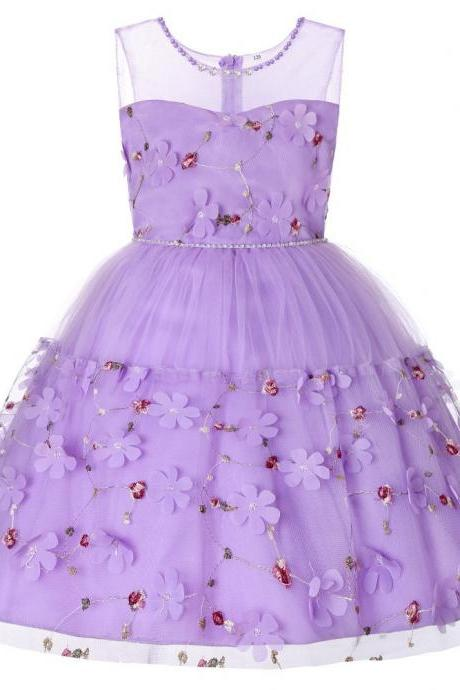 Princess Flower Girl Dress Sleeveless Floral Kids Birthday Formal Party Tutu Gown Children Clothes lilac