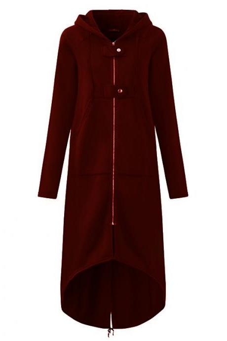 Women Sweatshirt Coat Autumn Winter Plus Size Casual Pockets Zipper Hooded Extra Long Jacket Outerwear wine red