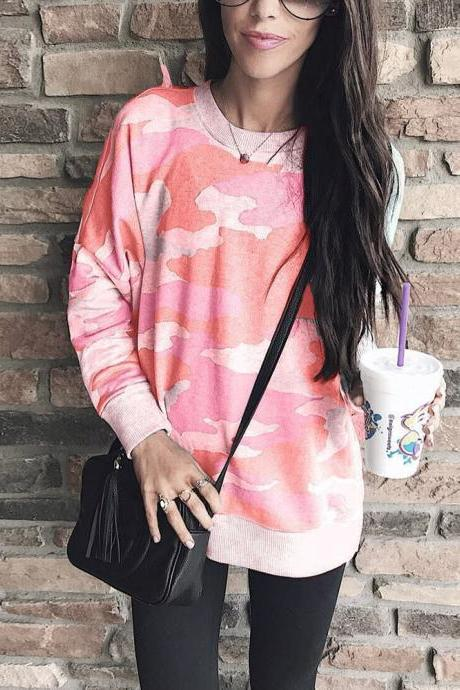 Women Camouflage Printed Sweatshirt Autumn Casual O Neck Long Sleeve Loose Pullover Tops red