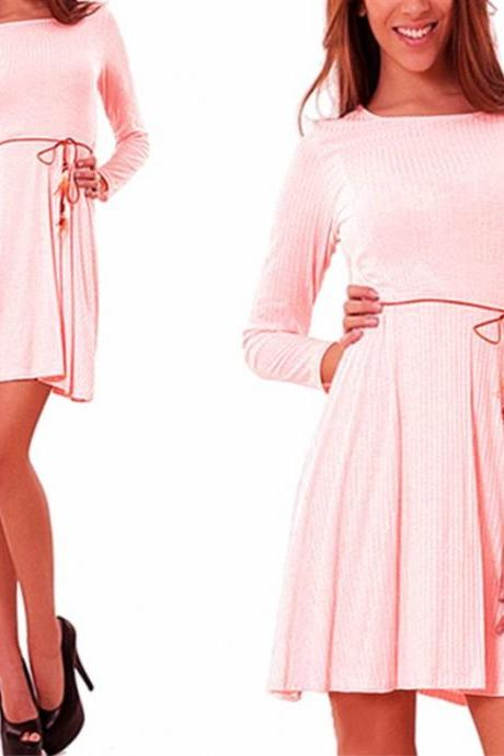 Women Casual Dress Autumn Long Sleeve Belted A-line Mini Club Party Dress pink