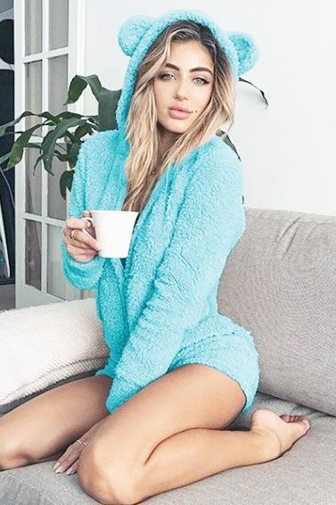 Women Plush Jumpsuit Autumn Winter Hooded Long Sleeve Plus Size Warm Bodysuit Casual Rompers aqua