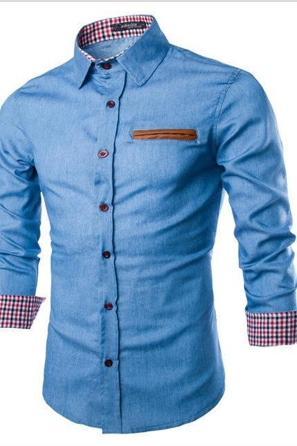 Men Denim Shirt Autumn Turn-down CollarLong Sleeve Button Slim Fit Casual Jeans Shirt light blue