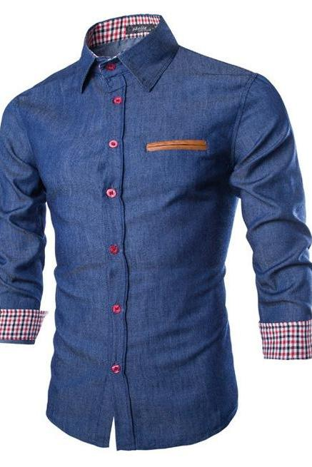 Men Denim Shirt Autumn Turn-down CollarLong Sleeve Button Slim Fit Casual Jeans Shirt dark blue