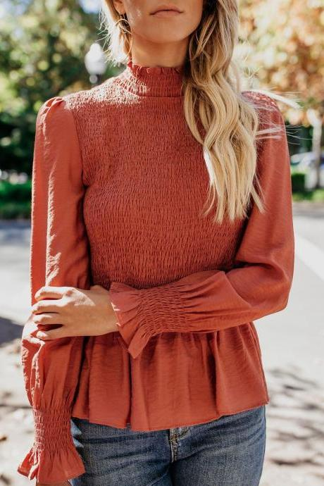 Women Blouse Spring Autumn Turtleneck Flare Long Sleeve Draped Solid Casual Slim Pullover Tops Brick red