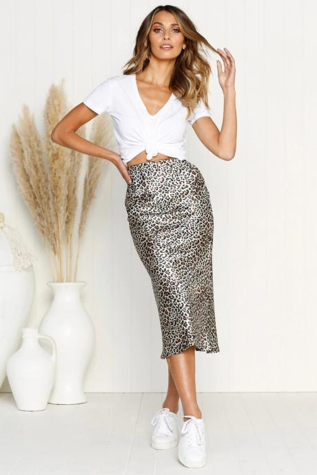 Women Leopard Printed Skirt Autumn High Waist Streetwear Bodycon Evening Club Party Skirt 1#