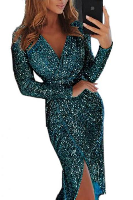 Women Sequined Dress V Neck High Split Long Sleeve Asymmetrical Bodycon Sexy Night Club Party Dress green