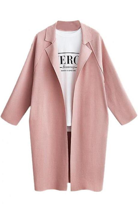 Women Trench Coat Autumn Turn-down Collar Long Sleeve Streetwear Casual Cardigan Jacket Overcoat pink