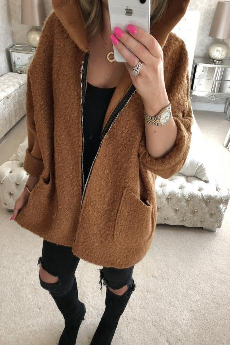 Women Plush Coat Autumn Winter Hooded Zipper Pocket Long Sleeve Warm Casual Loose Jacket Outerwear caramel