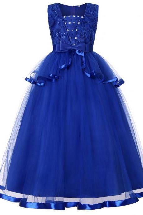 Long Flower Girl Dress Beaded Sleeveless Teens Formal Communion Birthday Party Gown Kids Children Clothes royal blue