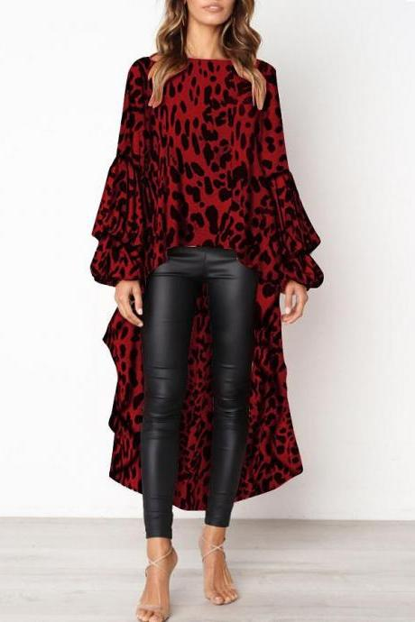 Women Asymmetrical Dress Long Lantern Sleeve Streetwear Leopard Printed Casual Tops 101106-red