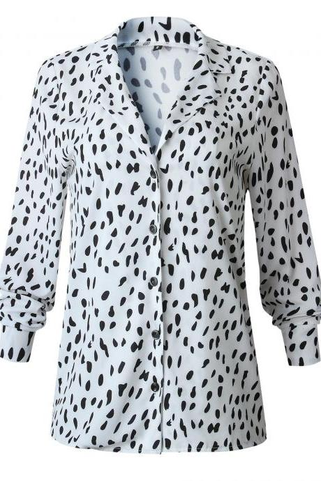 Women Leopard Printed Blouse Autumn Turn Down Collar Long Sleeve Casual Loose Tops Shirt 100235-off white