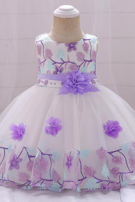 Infant Baby Girl Dress Sleeveless Floral Baptism 1 Year Birthday Party Princess Dress Kids Clothes lilac