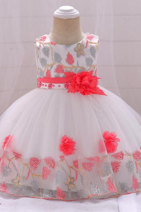 Infant Baby Girl Dress Sleeveless Floral Baptism 1 Year Birthday Party Princess Dress Kids Clothes watermelon red