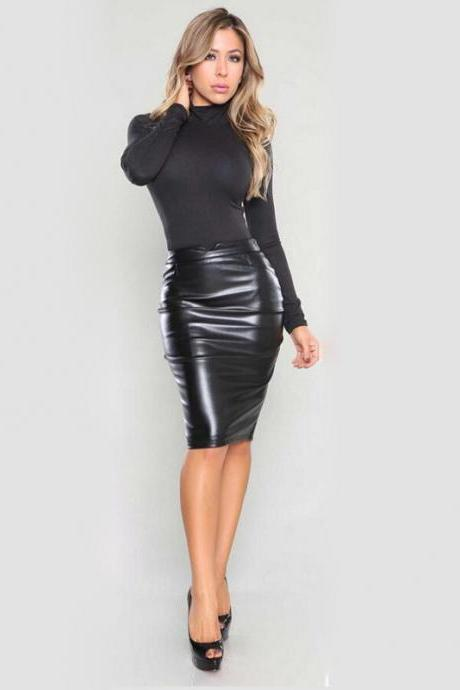 Women PU Leather Skirt High Waist Bodycon Nightclub Knee Length Slim Package Hip Pencil Skirt black