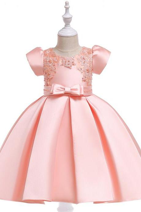 Satin Flower Girl Dress Short Sleeve Beaded Evening Prom Birthday Princess Party Gown Children Clothes salmon