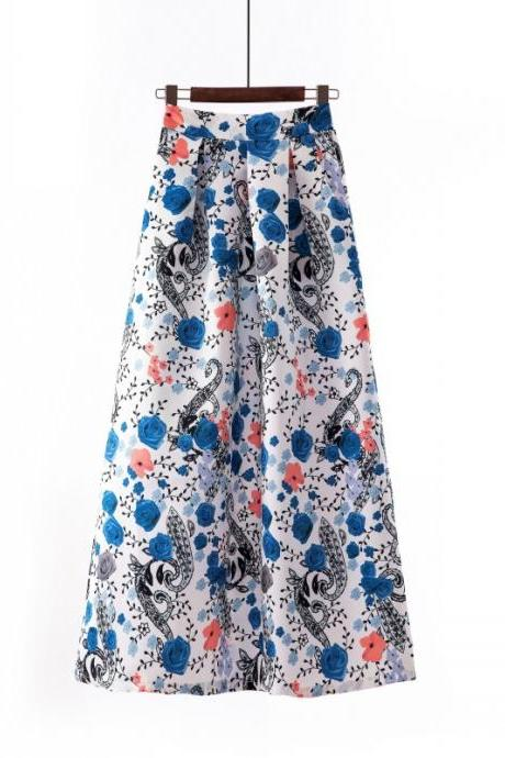 Women Floral Printed Maxi Skirt Vintage High Waist Floor Length Plus Size Pleated A Line Long Skirt 4#