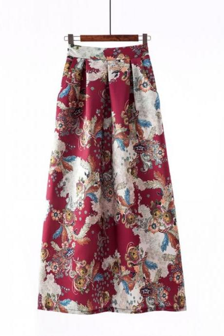 Women Floral Printed Maxi Skirt Vintage High Waist Floor Length Plus Size Pleated A Line Long Skirt 8#