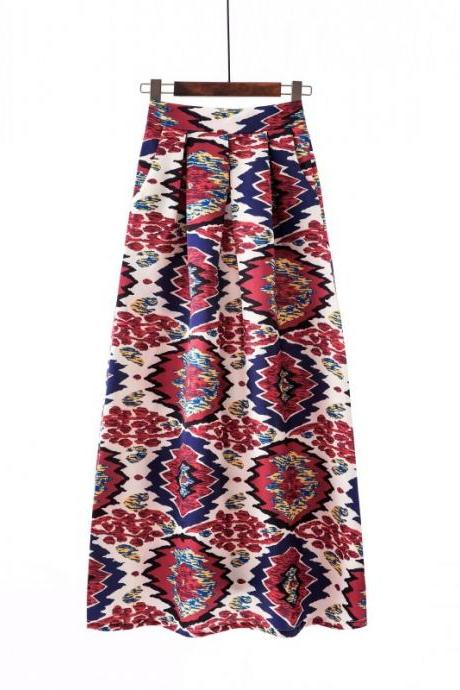 Women Floral Printed Maxi Skirt Vintage High Waist Floor Length Plus Size Pleated A Line Long Skirt 10#