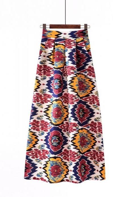 Women Floral Printed Maxi Skirt Vintage High Waist Floor Length Plus Size Pleated A Line Long Skirt 11#