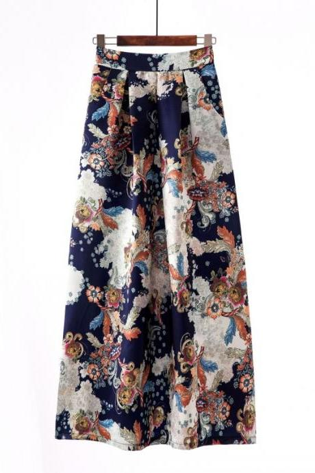 Women Floral Printed Maxi Skirt Vintage High Waist Floor Length Plus Size Pleated A Line Long Skirt 12#