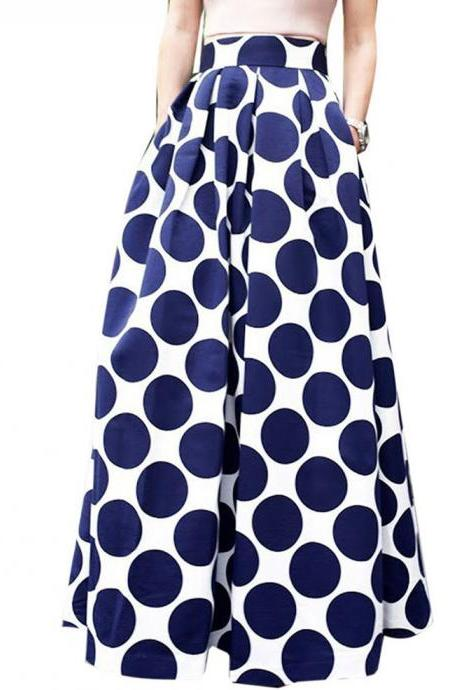 Women Floral Printed Maxi Skirt Vintage High Waist Floor Length Plus Size Pleated A Line Long Skirt 17#