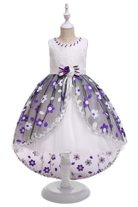 High Low Flower Girl Dress Floral Trailing Wedding Perform Birthday Princess Party Tutu Gown Children Clothes purple