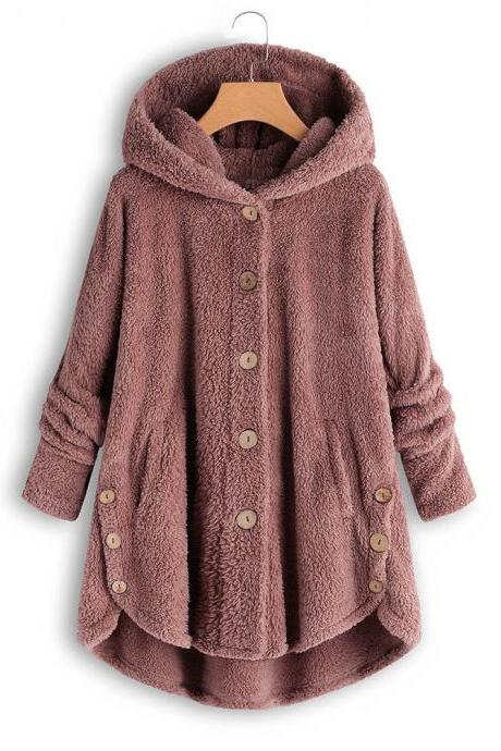 Women Fleece Coat Autumn Winter Warm Buttons Long Sleeve Plus Size Casual Loose Hooded Jacket pink