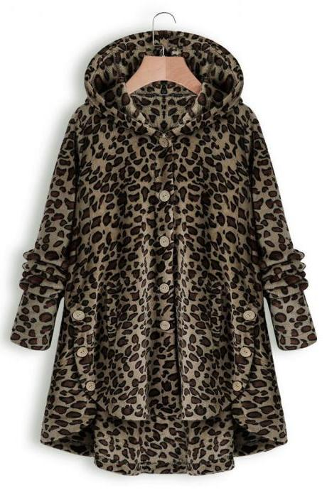 Women Fleece Coat Autumn Winter Warm Buttons Long Sleeve Plus Size Casual Loose Hooded Jacket brown leopard
