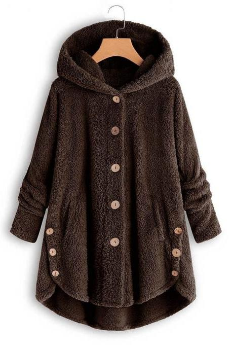 Women Fleece Coat Autumn Winter Warm Buttons Long Sleeve Plus Size Casual Loose Hooded Jacket coffee