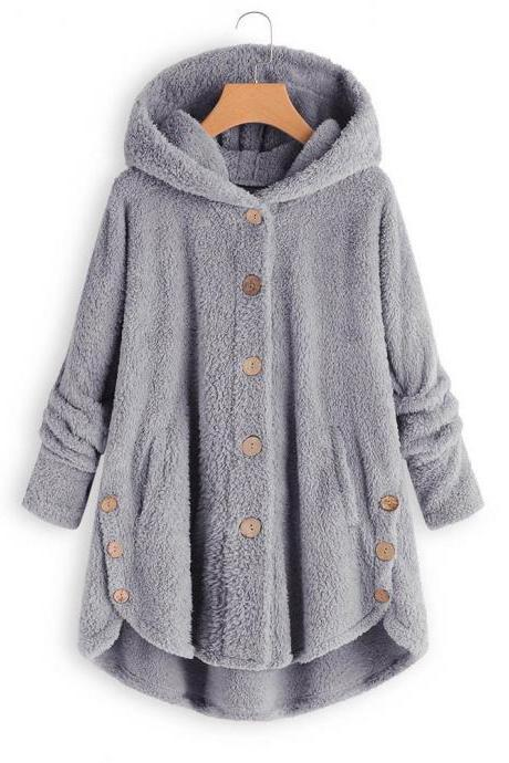 Women Fleece Coat Autumn Winter Warm Buttons Long Sleeve Plus Size Casual Loose Hooded Jacket gray
