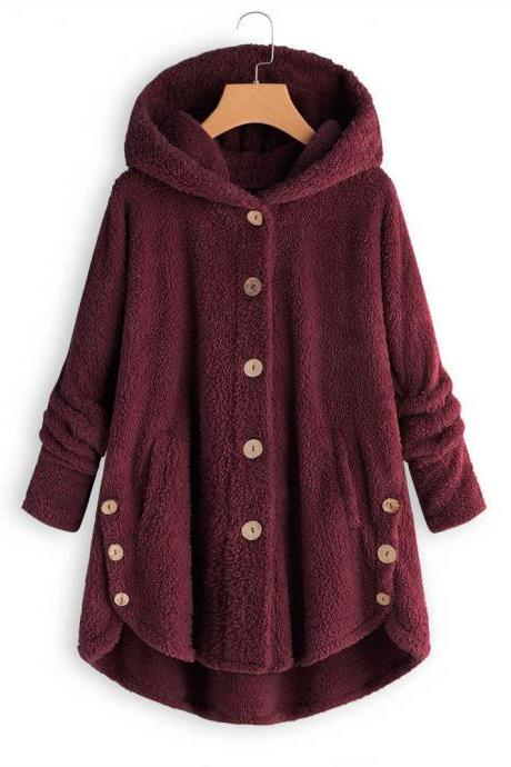 Women Fleece Coat Autumn Winter Warm Buttons Long Sleeve Plus Size Casual Loose Hooded Jacket wine red