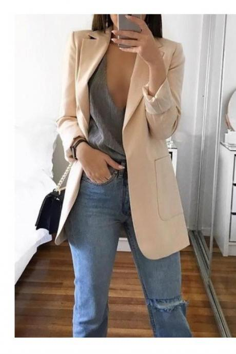 Women Blazer Coat Autumn Long Sleeve Slim Fit Work Office Business Casual Suit Coat beige