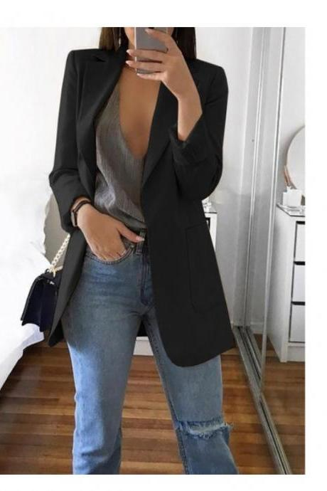 Women Blazer Coat Autumn Long Sleeve Slim Fit Work Office Business Casual Suit Coat black