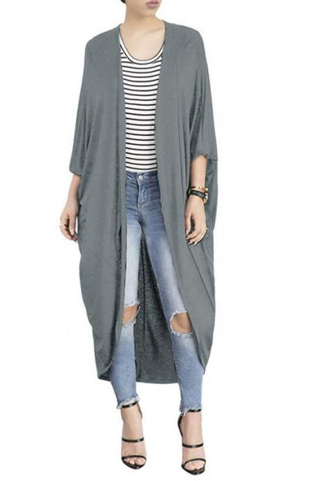 Women Trench Coat Autumn 3/4 Bat Sleeve Casual Loose Asymmetrical Long Cardigan Jacket gray