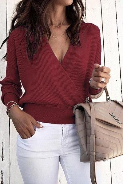Women Knitted Sweater Autumn Winter Warm V-Neck Long Sleeve Casual Loose Pullovers Tops wine red