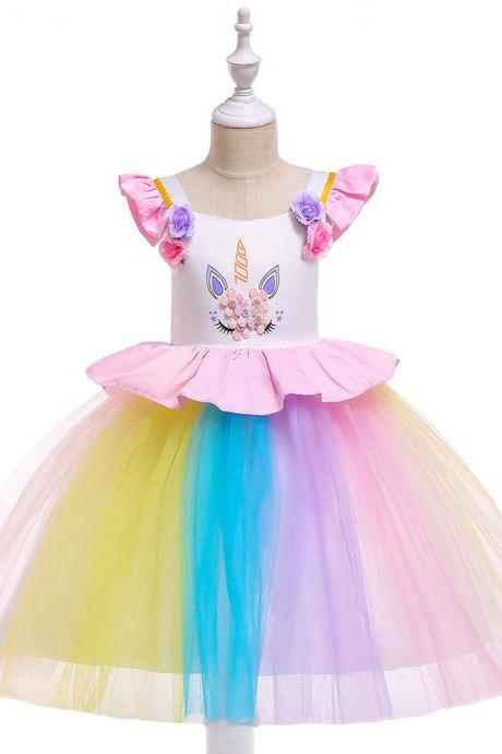 Unicorn Flower Girl Dress, Rainbow Girl Dress,Princess Girl Dress,Wedding Girl Dress,Birthday Girl Dress,Party Girl Dress,Tutu Gown ,Children Kids Clothes 2#