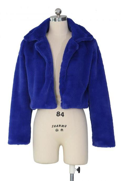 Women Faux Fur Coat Autumn Winter Turn Down Collar Warm Plush Long Sleeve Open Stitch Casual Cropped Jacket royal blue