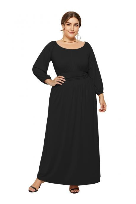 Plus Size Women Maxi Dress High Waist Long Sleeve Solid Loose Formal Party Long Dress black