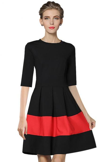 Women Casual Dress Autumn Half Sleeve Patchwork A-Line Office Work Business Party Dress black+red