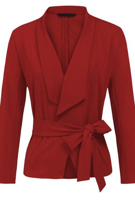 Women Blazer Coat Autumn Long Sleeve Belted Casual Work Office Lady Slim Suit Jacket red